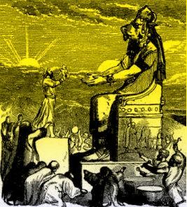 Nesta ilustração a Nuvem Negra paira também sobre o deus pagão Moloque...