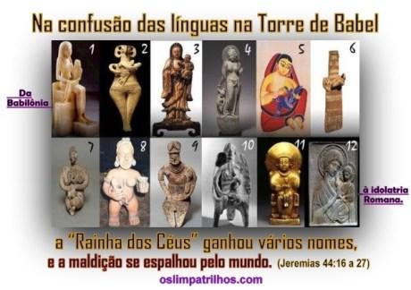 A sacerdotiza pagã Semiramis (mãe de Tamuz), tambem se espalhou com vários nomes: Rainha dos céus; Madona; Diana: Afrodite; Isis e hoje Padroeira,