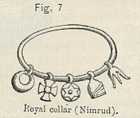 Hexagrama em colar assírio (centro). Símbolo pagão da antiga Babilônia.