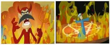 Pentagrama satanico em desenhos animados